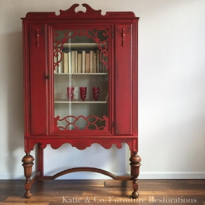Bookshelf In Holiday Red Linen