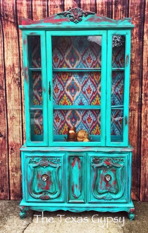 Boho Chic Hutch In Patina Green Holiday Red Milk Paint